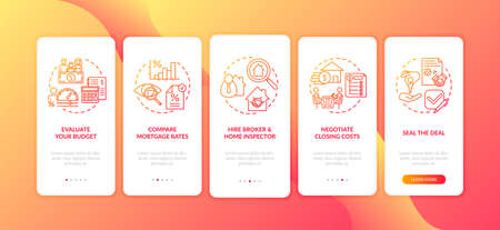 First-time homebuyer tips onboarding mobile app page screen with concepts. Compare loan rates, hire broker walkthrough 5 steps graphic instructions. UI vector template with RGB color illustrations