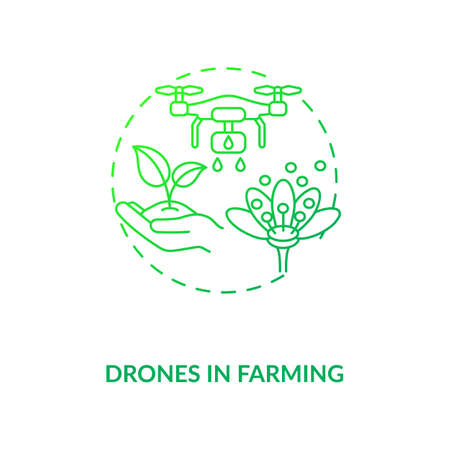 Drones in farming concept icon. City agriculture innovation ideas. Future technology in organic food creation idea thin line illustration. Vector isolated outline RGB color drawing