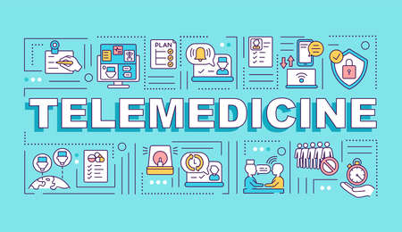 Telemedicine word concepts banner. Remote clinical services. Real-time consultation. Infographics with linear icons on blue background. Isolated typography. Vector outline RGB color illustration Ilustração