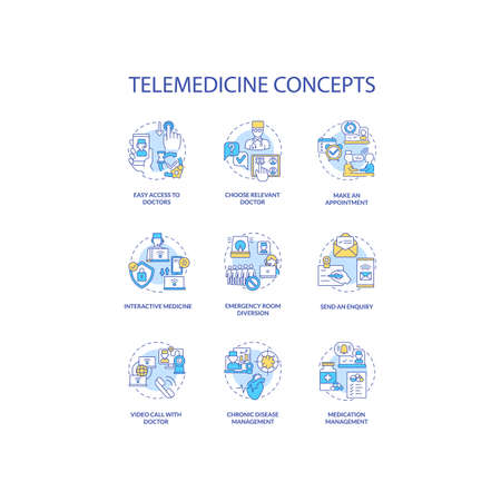 Telemedicine concept icons set. Easy access to doctors. Chronic disease management. Interactive Medicine idea thin line RGB color illustrations. Vector isolated outline drawings. Editable stroke