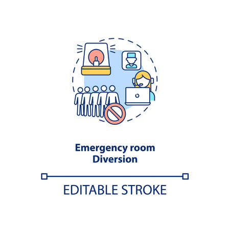 Emergency room diversion concept icon. Telemedicine pros. Advantages of future medicine technologies idea thin line illustration. Vector isolated outline RGB color drawing. Editable stroke