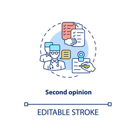 Second opinion concept icon. Telemedicine pros. Advantages of online treatment. Healthcare system idea thin line illustration. Vector isolated outline RGB color drawing. Editable stroke