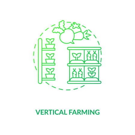 Vertical farming concept icon. Growing crops. Practice of growing crops vertically stacked. Urban farming inovative idea thin line illustration. Vector isolated outline RGB color drawing