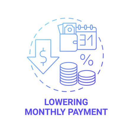 Lowering monthly payment concept icon. Mortgage refinance benefit idea thin line illustration. Refinance home loan. Avoiding late fees. Rate reduction. Vector isolated outline RGB color drawing