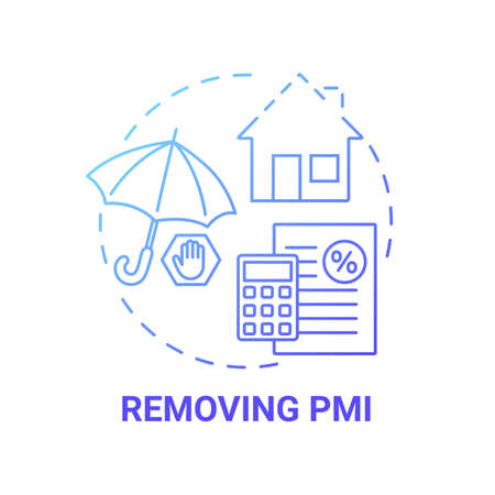 Removing PMI concept icon. Mortgage refinance benefit idea thin line illustration. PMI removal calculator. Cancellation request. Private mortgage insurance. Vector isolated outline RGB color drawing