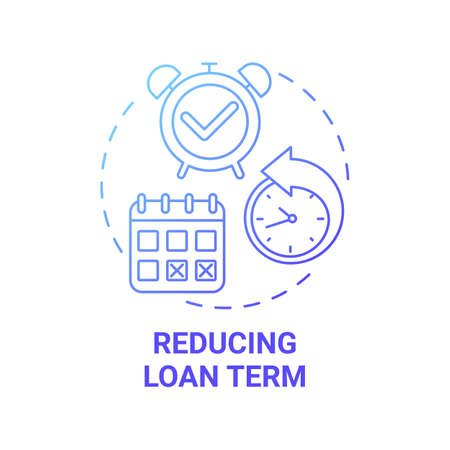 Reducing loan term concept icon. Mortgage refinance benefit idea thin line illustration. Interest-reducing loan. Shortening mortgage interest costs. Vector isolated outline RGB color drawing