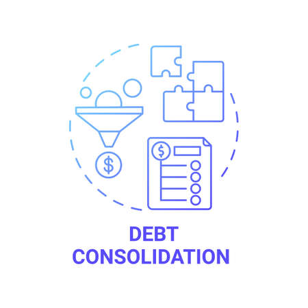 Debt consolidation concept icon. Mortgage refinance benefit idea thin line illustration. Single payment. Several unsecured debts combination. Second mortgage. Vector isolated outline RGB color drawing