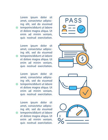 Loan processing concept icon with text. Approved financial contract. Calculate rate. Identify person. PPT page vector template. Brochure, magazine, booklet design element with linear illustrations Ilustração