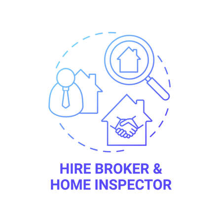 Hire broker concept icon. Home inspector idea thin line illustration. Real estate agent. Recommendation. Homebuying process. Property review report. Vector isolated outline RGB color drawing Ilustracje wektorowe