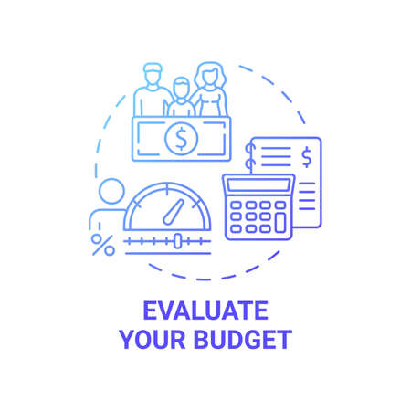 Evaluate budget concept icon. First-time homebuyer tip idea thin line illustration. Stabilization measures. Working families incomes. Planning and adjusting. Vector isolated outline RGB color drawing