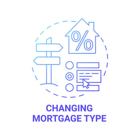 Changing mortgage type concept icon. Mortgage refinance benefit idea thin line illustration. Redemption fees paying. Interest rates changing. Vector isolated outline RGB color drawing Ilustração