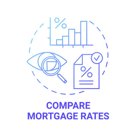 Compare mortgage rates concept icon. First-time homebuying idea thin line illustration. Home loan. Best deal. Residential property. Mortgage interest rates. Vector isolated outline RGB color drawing Ilustração