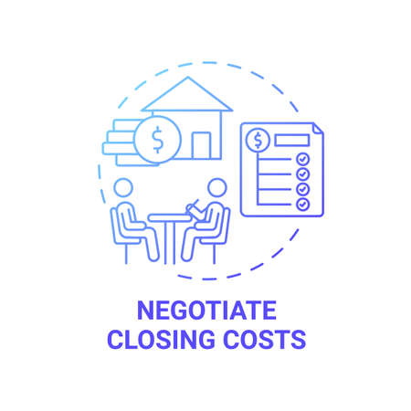 Negotiate closing costs concept icon. First-time homebuyer tip idea thin line illustration. High loan rate. Offers comparing. Reducing lender fees. Vector isolated outline RGB color drawing