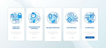 Mortgage types onboarding mobile app page screen with concepts. Adjustable-rate, ballon, FHA loan walkthrough 5 steps graphic instructions. UI vector template with RGB color illustrations Vektorové ilustrace