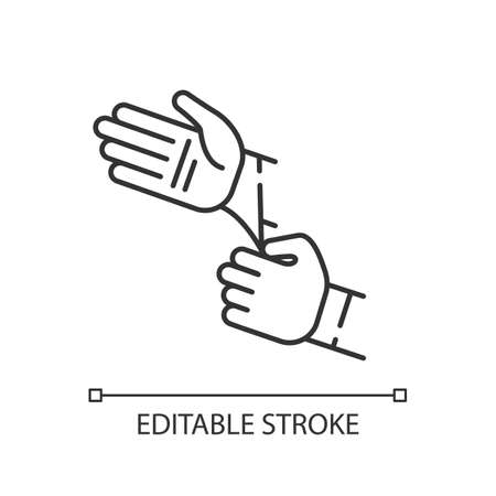 Disposable sterile gloves linear icon. Sanitary equipment for surgery. First aid. Thin line customizable illustration. Contour symbol. Vector isolated outline drawing. Editable stroke