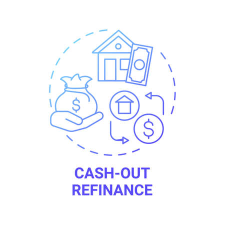 Cash-out refinance concept icon. Mortgage refinancing option idea thin line illustration. Borrow money. Real property. Payoff existing liens. Vector isolated outline RGB color drawing
