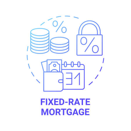 Fixed-rate mortgage concept icon. Primary loan type idea thin line illustration. Fully amortizing mortgage loan. FRM type. Remortgaging deals. Vector isolated outline RGB color drawing