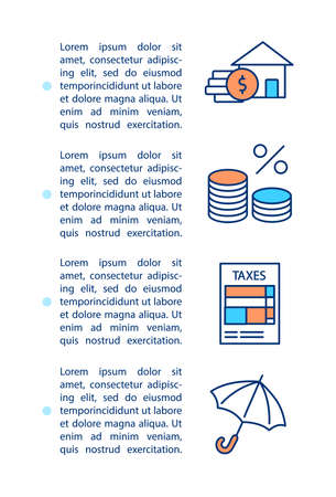 Mortgage elements concept icon with text. Financial offers. Principal, interest, taxes and insurance. PPT page vector template. Brochure, magazine, booklet design element with linear illustrations