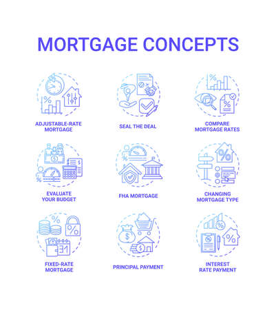 Mortgage concept icons set. Loan housing idea thin line RGB color illustrations. Changing mortgage type. Adjustable-rate mortgage. Seal deal. Compare loan rates. Vector isolated outline drawings