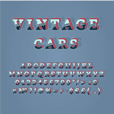 Vintage cars header vintage 3d vector alphabet set. Retro bold font, typeface. Pop art stylized lettering. Old school style letters, numbers, symbols pack. 90s, 80s creative typeset design template