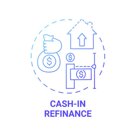 Cash-in refinance concept icon. Mortgage refinance type idea thin line illustration. Monthly payment. Paying down mortgage costs and lower loan balances. Vector isolated outline RGB color drawing