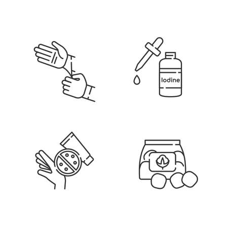 Medical equipment linear icons set. Disposable sterile gloves. Iodine in bottle. Skin rash cream. Customizable thin line contour symbols. Isolated vector outline illustrations. Editable stroke