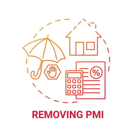 Removing PMI concept icon. Mortgage refinance benefit idea thin line illustration. Original appraised value. Property value increasing. Mortgage insurance. Vector isolated outline RGB color drawing Stock Illustratie