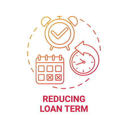 Reducing loan term concept icon. Mortgage refinance benefit idea thin line illustration. Monthly repayments. Shortening mortgage interest costs. Vector isolated outline RGB color drawing