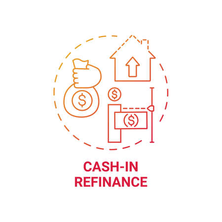 Cash-in refinance concept icon. Mortgage refinance type idea thin line illustration. Refinancing home loan. Paying down mortgage costs. Lower loan balances. Vector isolated outline RGB color drawing