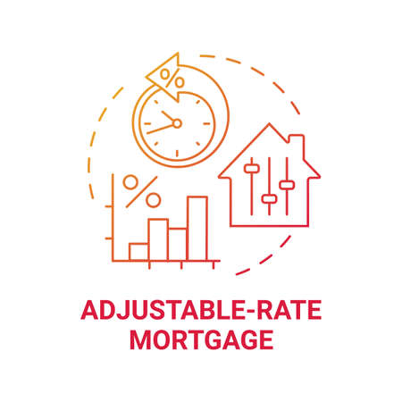 Adjustable-rate mortgage concept icon. Primary loan type idea thin line illustration. Variable rate mortgage. Low interest rates period. Shorter-term fix. Vector isolated outline RGB color drawing
