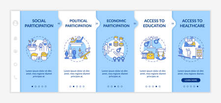 Gender gap criteria onboarding vector template. Political and economic participation. Access to healthcare. Responsive mobile website with icons. Webpage walkthrough step screens. RGB color concept