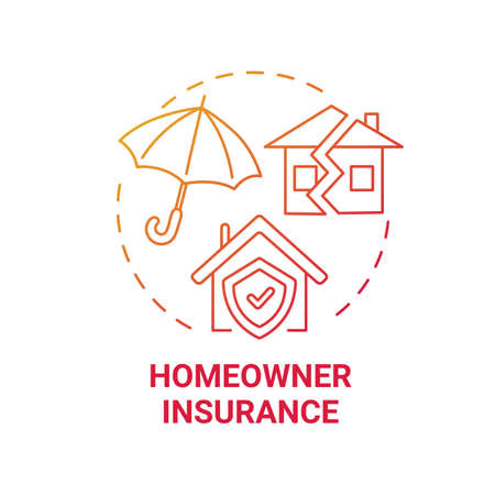 Homeowner insurance concept icon. Mortgage payment element idea thin line illustration. Home warranty. Real estate owners. Insurance premiums. Vector isolated outline RGB color drawing