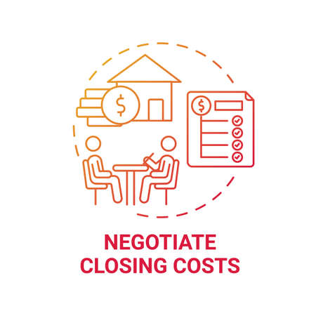 Negotiate closing costs concept icon. First-time homebuyer tip idea thin line illustration. Discounts and rebates. Seller credits. Lower-priced vendors. Vector isolated outline RGB color drawing