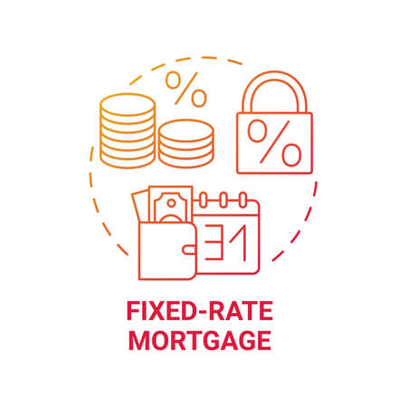 Fixed-rate mortgage concept icon. Primary loan type idea thin line illustration. Fully amortizing mortgage loan. Tight monthly budget. Fixed cost. Vector isolated outline RGB color drawing