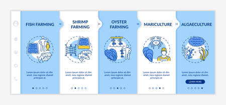 Aquaculture types onboarding vector template. Fish growing farms. Sea foods production idea. Responsive mobile website with icons. Webpage walkthrough step screens. RGB color concept Ilustrace