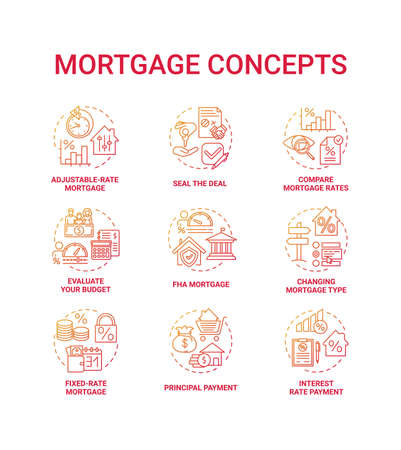 Mortgage concept icons set. Loan housing idea thin line RGB color illustrations. Adjustable-rate mortgage. Principal payment. Seal deal. Compare loan rates. Vector isolated outline drawings