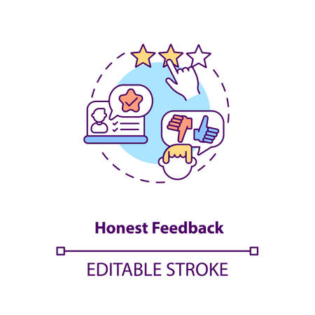 Honest feedback concept icon. Influencer marketing benefit idea thin line illustration. Favourable opinions. Experience with brand products. Vector isolated outline RGB color drawing. Editable stroke 일러스트