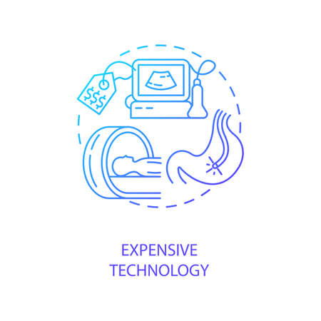 Expensive technology concept icon. Telemedicine challenges. Future medicine technologies. Inovational treatment devices idea thin line illustration. Vector isolated outline RGB color drawing
