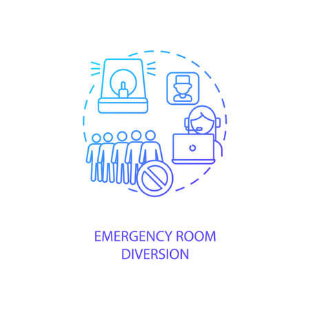 Emergency room diversion concept icon. Telemedicine advantages. Pros of future online tele medicine technologies idea thin line illustration. Vector isolated outline RGB color drawing