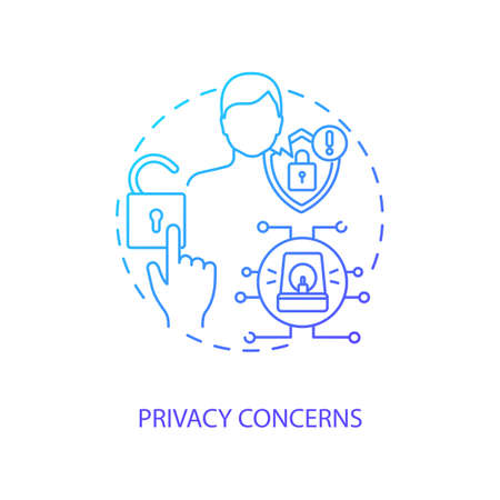 Privacy concerns concept icon. Telemedicine challenges. Patient confidential data. Futuristic health treatment idea thin line illustration. Vector isolated outline RGB color drawing