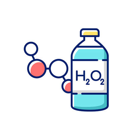 Hydrogen peroxide RGB color icon. Medical cleanser to treat wound. First aid medication. Fluid concentrated medical drug. Emergency help for patient wound. Isolated vector illustration Vektorgrafik