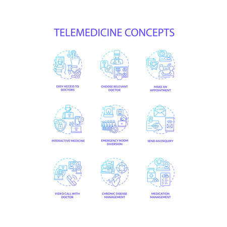 Telemedicine concept icons set. Emergency room diversion. Medication management. Online video call with doctor idea thin line RGB color illustrations. Vector isolated outline drawings