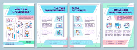 What are influencers brochure template. Find your ecommerce niche. Flyer, booklet, leaflet print, cover design with linear icons. Vector layouts for magazines, annual reports, advertising posters