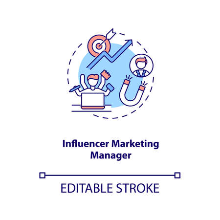Influencer marketing manager concept icon. Campaign management idea thin line illustration. Relationship building. Influencer communications. Vector isolated outline RGB color drawing. Editable stroke
