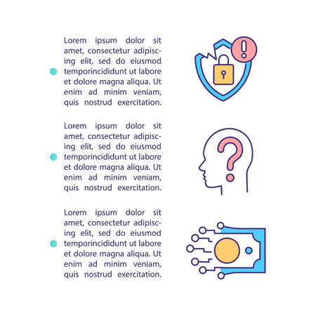 Privacy concerns concept icon with text. Telemedicine challenge. Reimbursement. Personal information. PPT page vector template. Brochure, magazine, booklet design element with linear illustrations