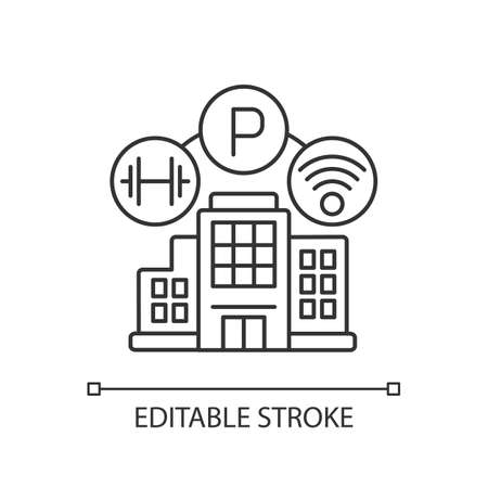 Building amenities pixel perfect linear icon. Services in hotel. Wifi spot in apartment. Thin line customizable illustration. Contour symbol. Vector isolated outline drawing. Editable stroke