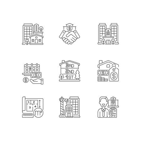 Realty pixel perfect linear icons set. Property types. Business deal. House mortgage. Home for sale. Customizable thin line contour symbols. Isolated vector outline illustrations. Editable stroke