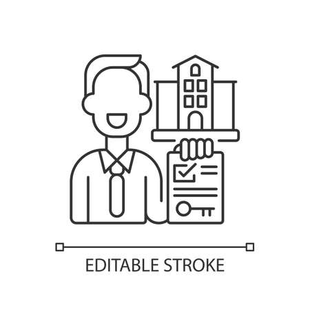Realtor pixel perfect linear icon. Real estate agent. Business contract. Invest money in realty. Thin line customizable illustration. Contour symbol. Vector isolated outline drawing. Editable stroke