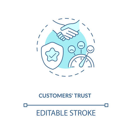 Customers trust concept icon. Influencer marketing benefit idea thin line illustration. Consumer relationships. Trustworthy dialogue. Vector isolated outline RGB color drawing. Editable stroke