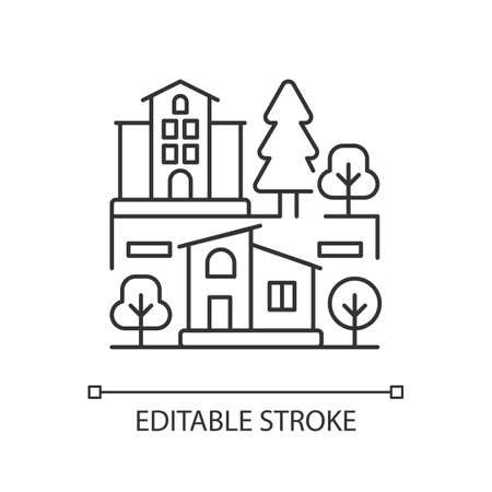Neighborhood pixel perfect linear icon. Downtown district. Suburban living. Property types. hin line customizable illustration. Contour symbol. Vector isolated outline drawing. Editable stroke Vector Illustratie